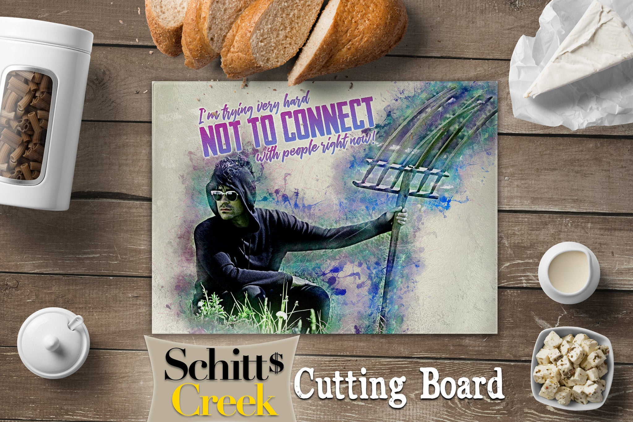 Schitts Creek David in a Field, Schitts Creek Gifts, Schitts Creek Cutting Board, Schitts Creek Decorations, Glass Cutting Board