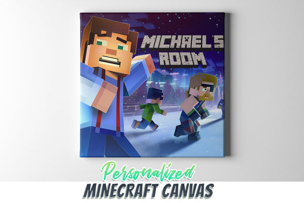 Minecraft Canvas Wall Art, Personalized Minecraft Canvas Wall Art, Minecraft Wall Decor, Minecraft Canvas Print Framed & Ready to Hang