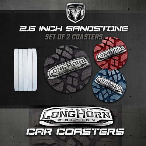 Car Coasters, Ram 1500 Longhorn Car Coasters, Ram Laramie Longhorn Sandstone Car Coasters, Ram Accessories