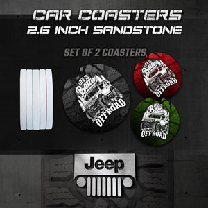 Jeep Car Coasters, Wrangler Car Coasters, Jeep Sandstone Car Coasters, Jeep Accessories
