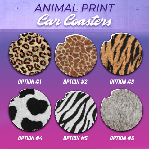 Cheetah Car Coasters, Cheetah Car Coaster, Lion Car Coasters, Cow Car Coasters, Giraffe Car Coasters, Zebra Car Coasters