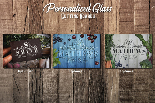 Large Personalized Glass Cutting Board, Kitchen Decor, Housewarming Gift, Anniversary Gift, Wedding Gift, Glass Cutting Board