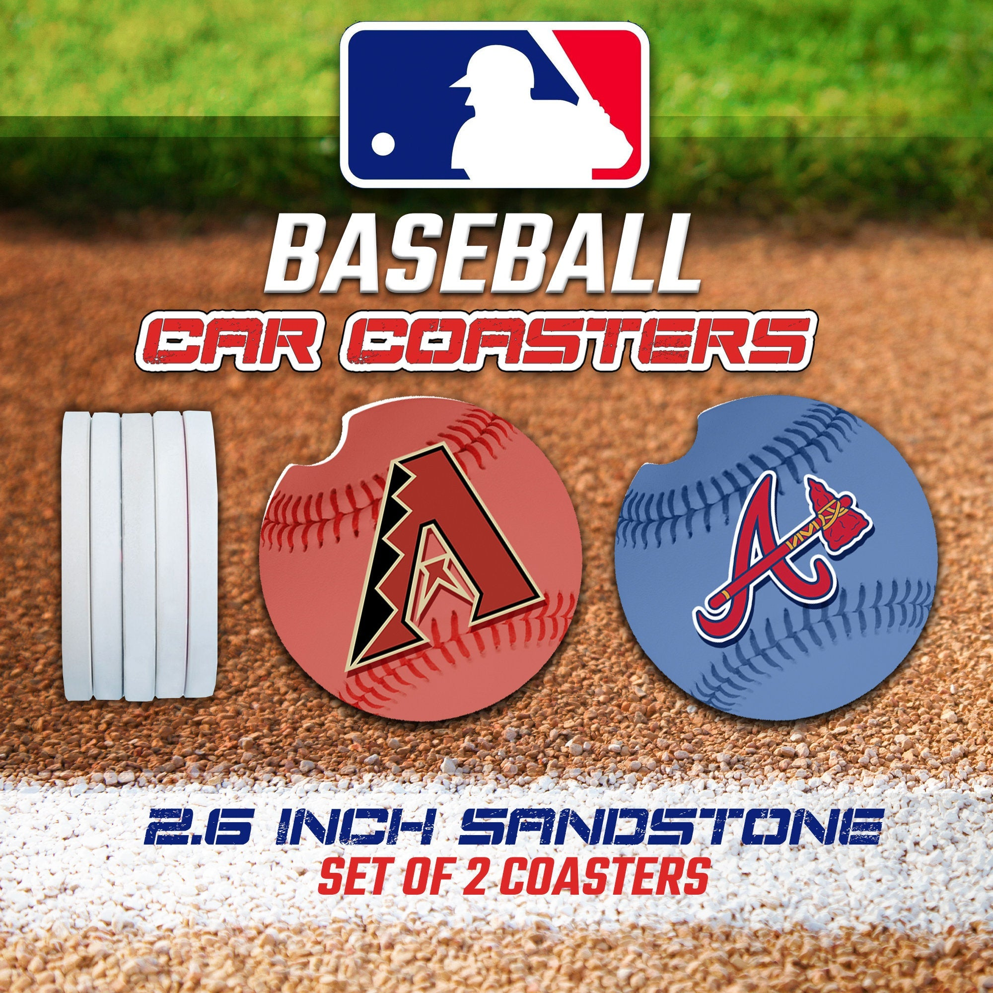 Baseball Car Coasters, Baseball Car Coaster, Baseball Team Gifts, Major League Baseball Accessories
