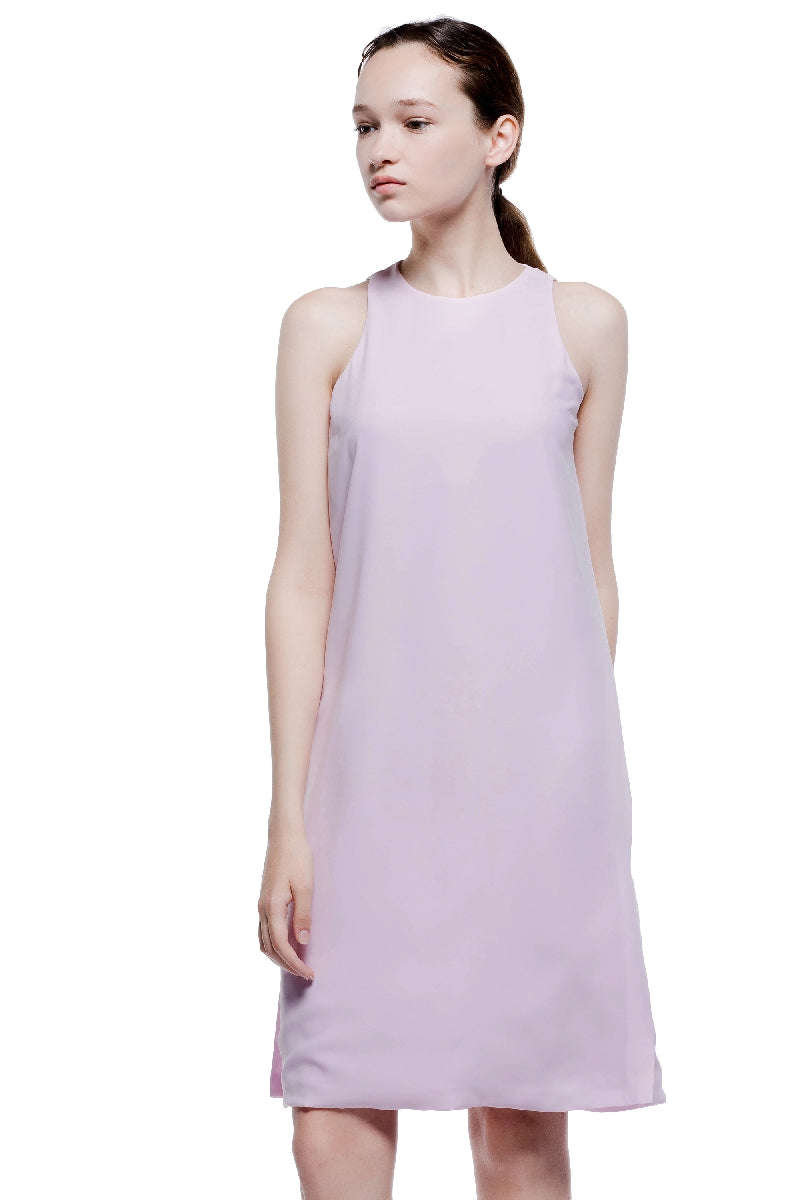 Lavender Sunset Round Neck Sleeveless Midi Dress