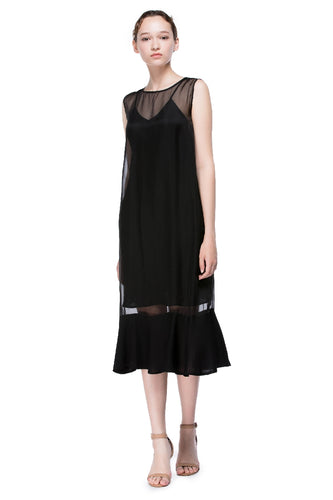 Nightfall Round Neck Flounced Dress
