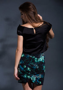 Reconstructed elegance cropped top in Black
