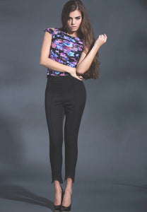 Black magic high waist twill pants