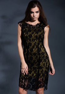 Lace me all over midi dress