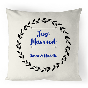 'Just Married' Personalised  Cushion Cover