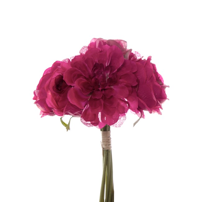 Hot Pink Dahlia & Cabbage Rose Bouquet