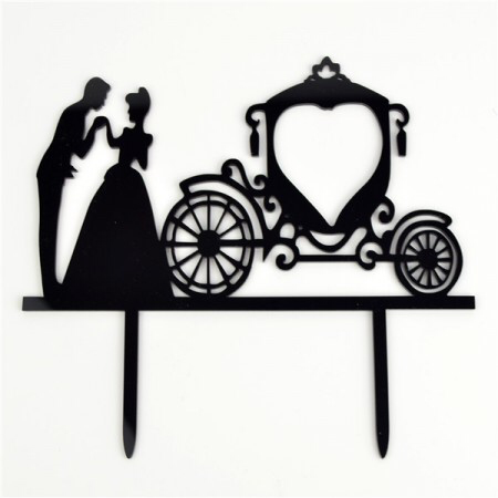Acrylic Cake Topper - Bride & Groom with Carriage