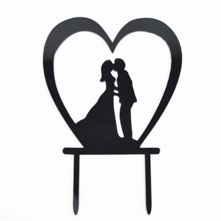 Acrylic Cake Topper - Mr & Mrs with Heart