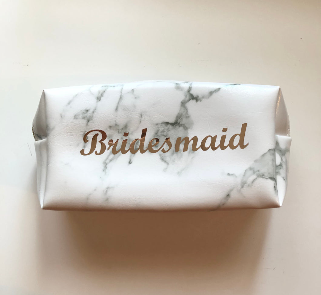 Bridesmaid Marble Makeup Bag
