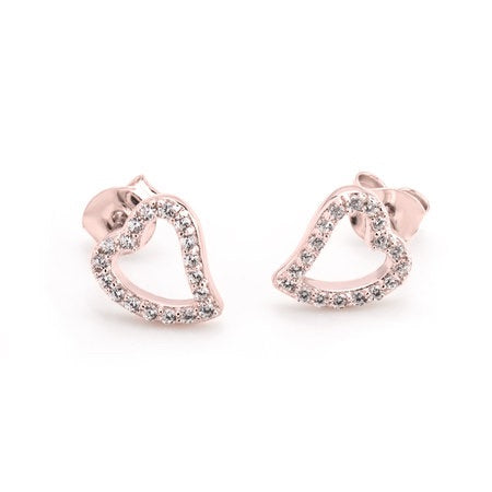 Open Heart Earrings With Cubic Zirconia