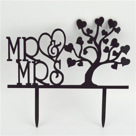 Acrylic Cake Topper - Mr & Mrs with Tree