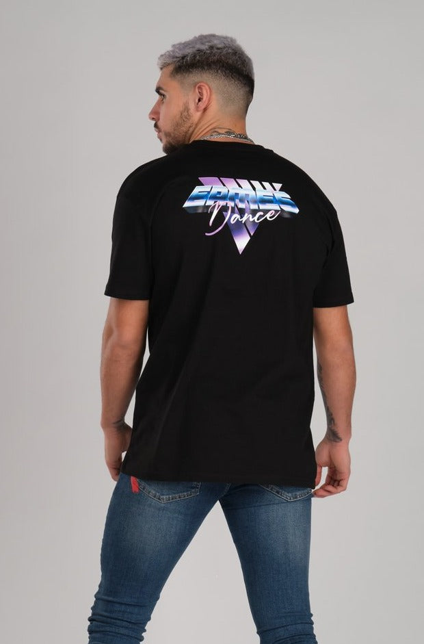 Retro Wave Oversize Black T-Shirt