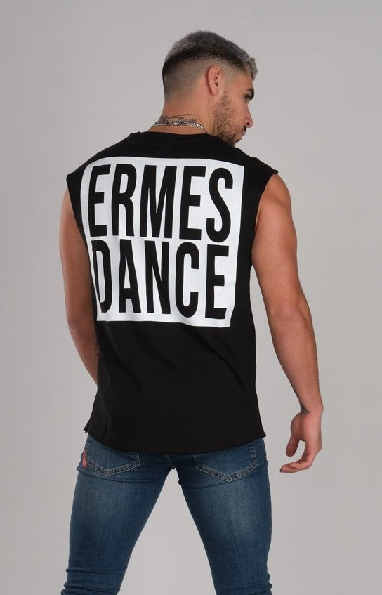 Square Ermes Dance Sleeveless Black T-Shirt