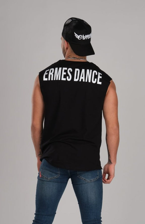 Bold Ermes Dance Sleeveless Black T-Shirt