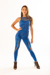 Sculpture Jumpsuit Blue Zebra