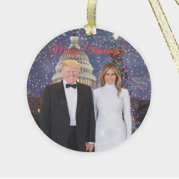 President Donald & Melania Trump 'Merry Christmas' Tree Ornament