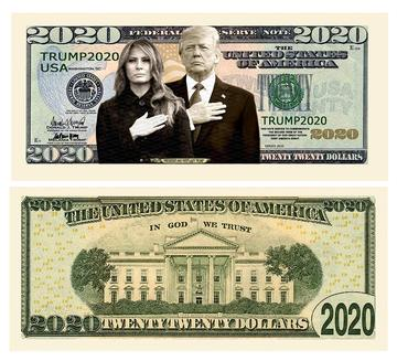 Donald And Melania Trump 2020 Limited Edition Novelty Dollar Bill