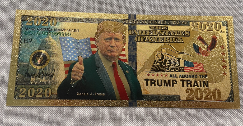 Trump Train 2020 Collector's Gold-Plated Bank Note