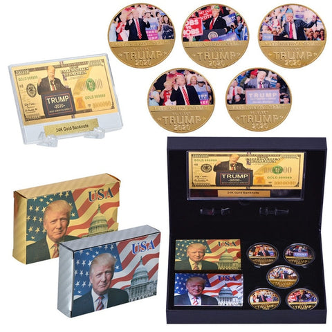Image of Gold Plated Collectible Coins Trump 2020 - Playing Cards Set - Gold Bill - With Gift Box