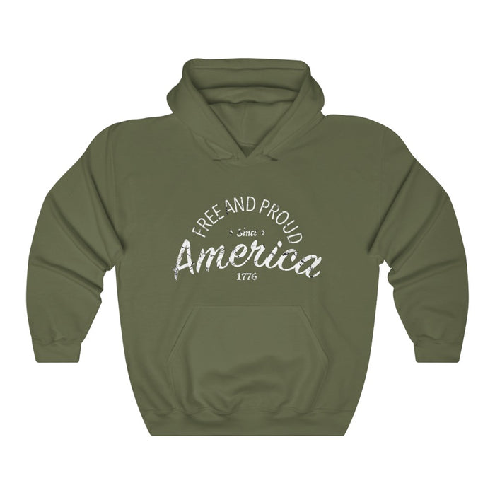 Free And Proud Hooded Sweatshirt - Black & OD Green