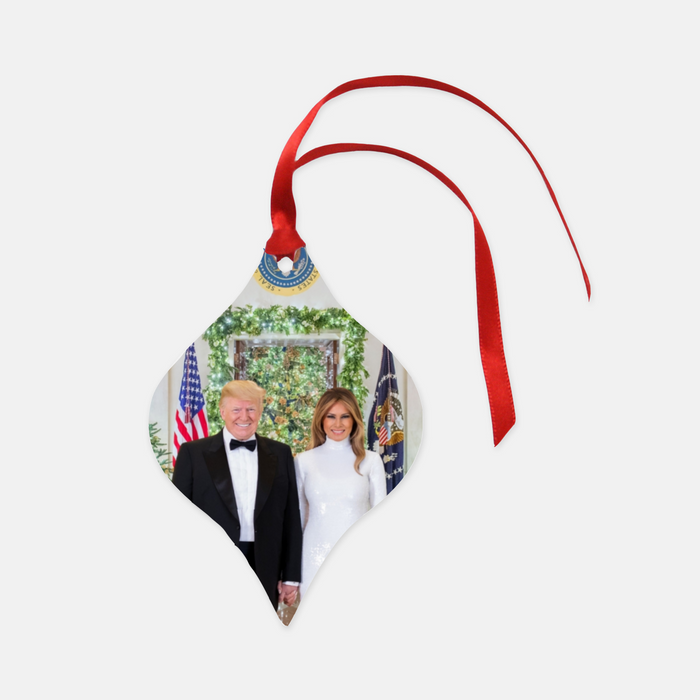 President Donald And Melania Trump Christmas At The White House Tapered Ceramic Ornament