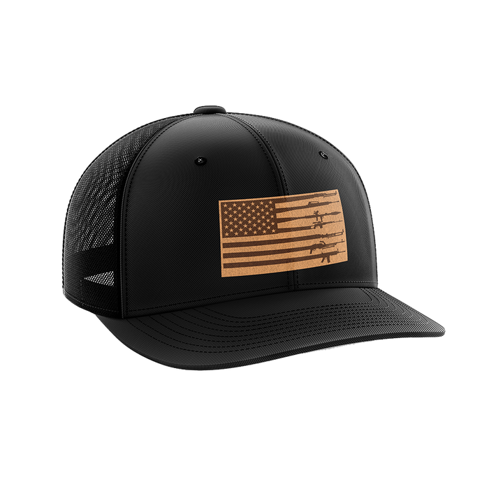 Rifle Flag Leather Patch Hat