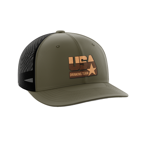 Image of USA Drinking Team Leather Patch Hat