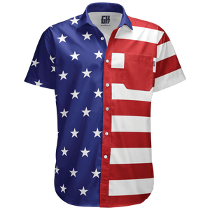 American Flag Short-Sleeve Button Down