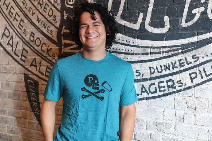 JOLLY ROGER HEATHERED TEAL TEE