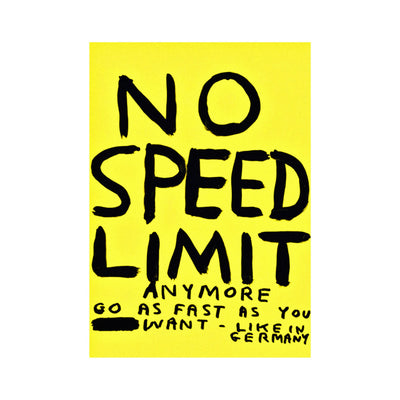 "Postkarte David Shrigley ""No Speed Limit"" - Vandeley"