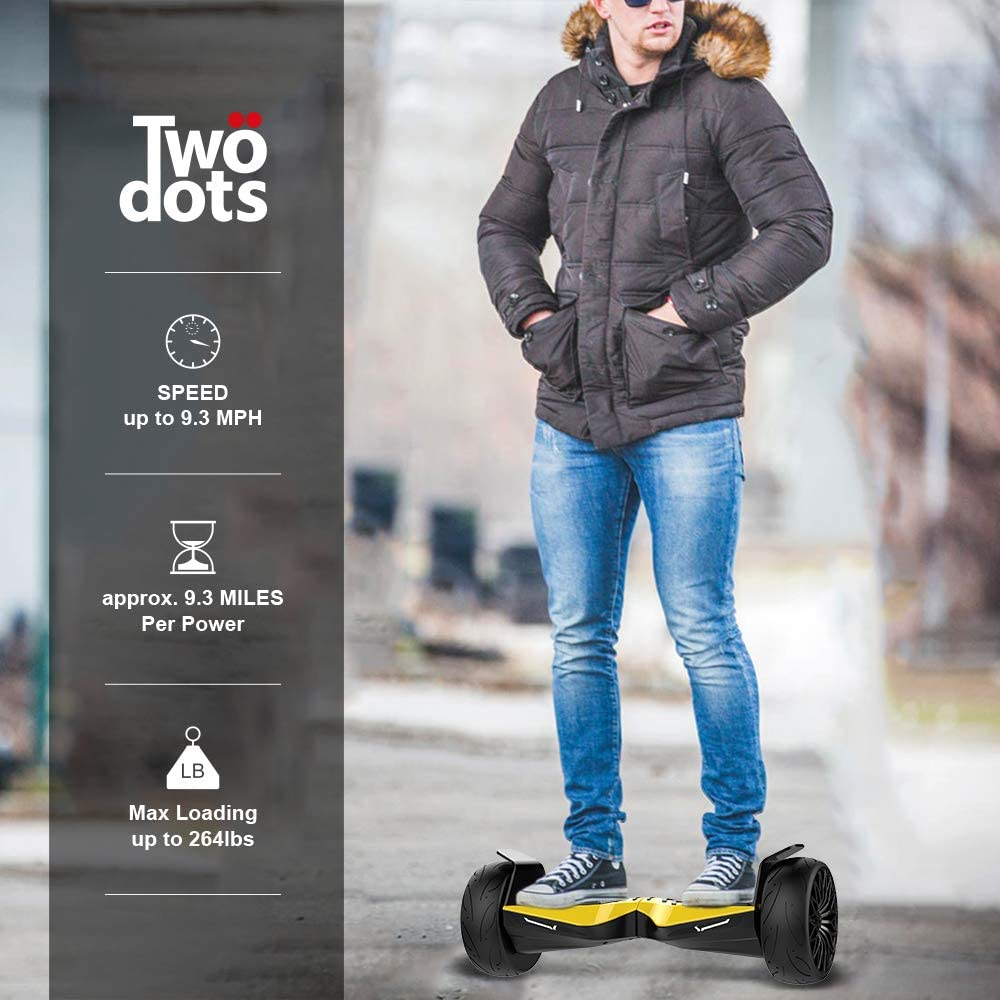 Two Dots Glyboard Corse Hoverboard 8.5 inch Off Road Hoverboard with Bluetooth Speaker & App & LED Lights