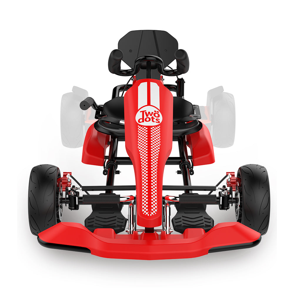 Red Hoverboard Go Kart Kit - Two Dots Go Kart Attachment for Hoverboards, Self Balancing Scooter, Safe for Kids Adults