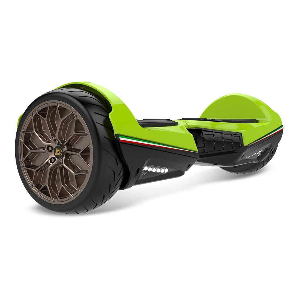 "Two Dots Glyboard Veloce Hoverboard Bluetooth APP Enabled 6.5"" Off Road Hoverboard with LED Lights - Green"