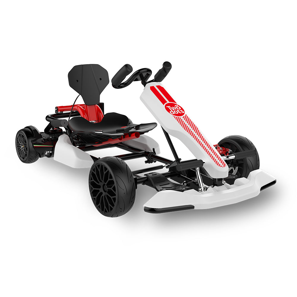 Youth Go Kart - TwoDots Glyboard Veloce All Terrain Kids Go Kart with Adjustable Seat - 6.2MPH - 165 lbs (including Hoverboard) - White Gokart