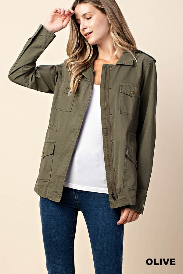 Cinched Waist Military Jacket
