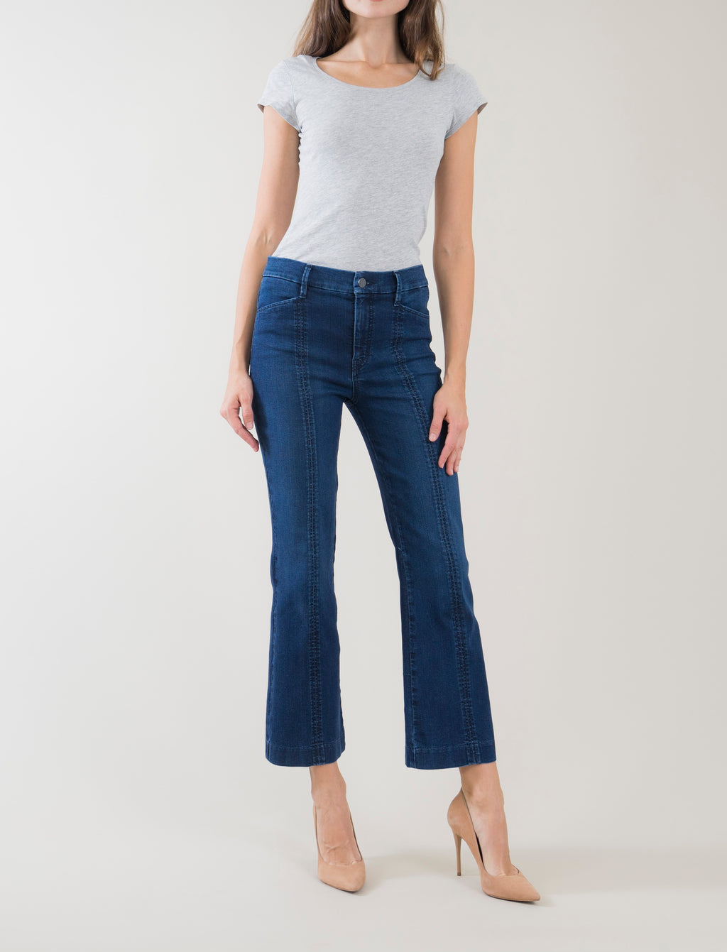Level 99 Camille Seamed Kick Flare Jeans
