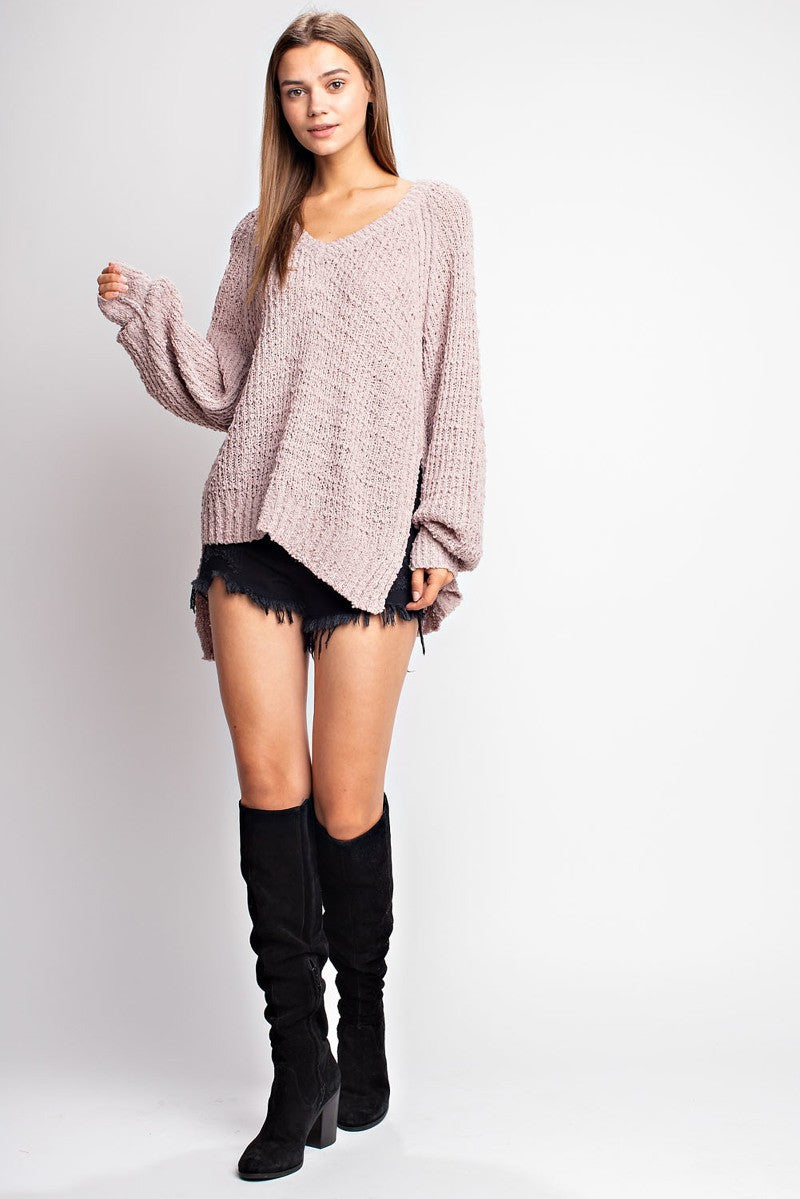 V Neck Uneven Hem Sweater