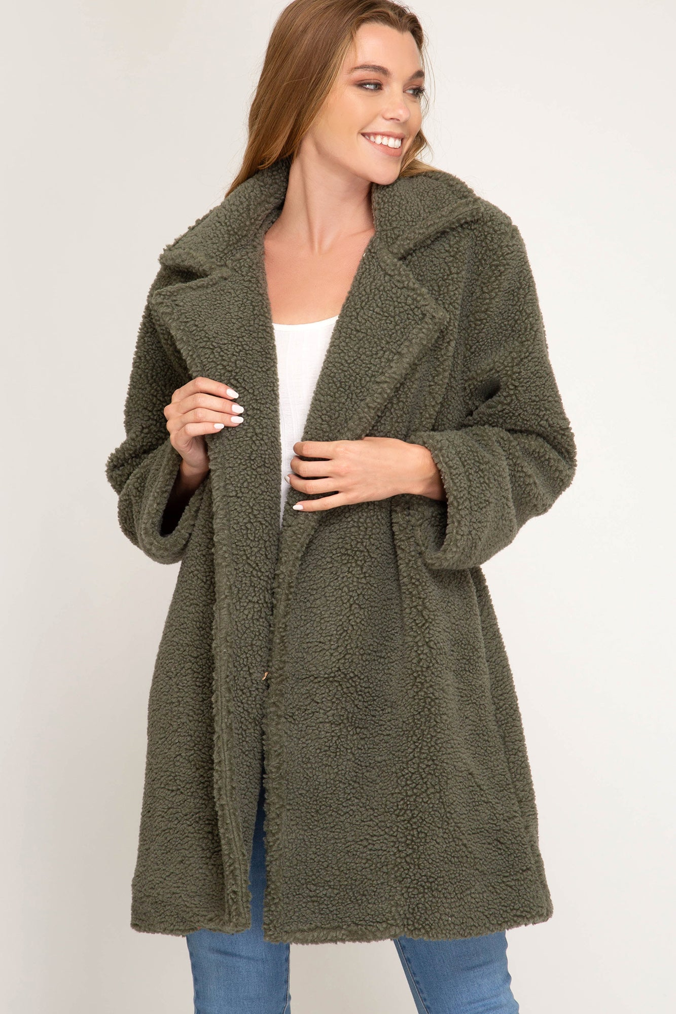 Olive Teddy Bear Coat
