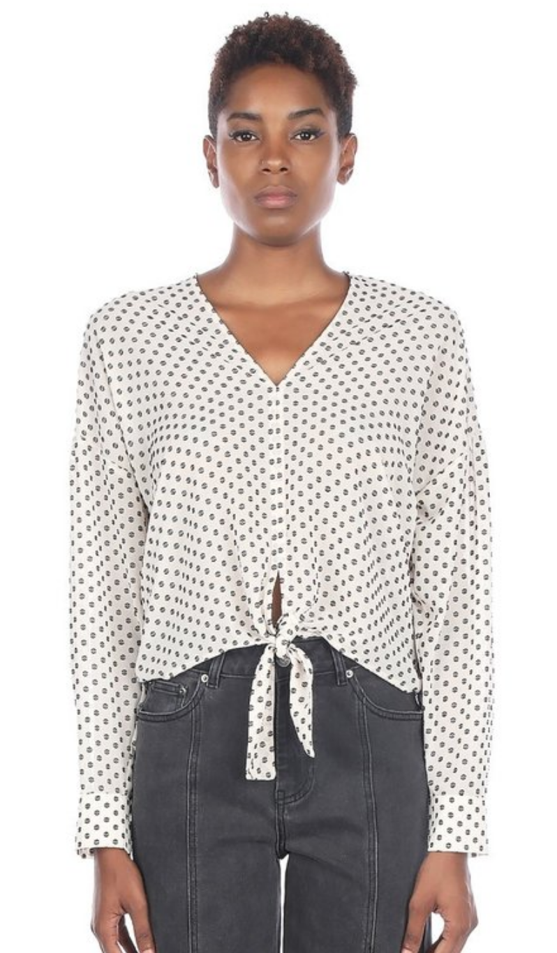 Long Sleeve V Neck Tie Front Top