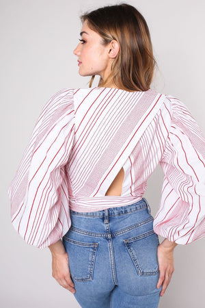 Do + Be Embroidery Striped Top