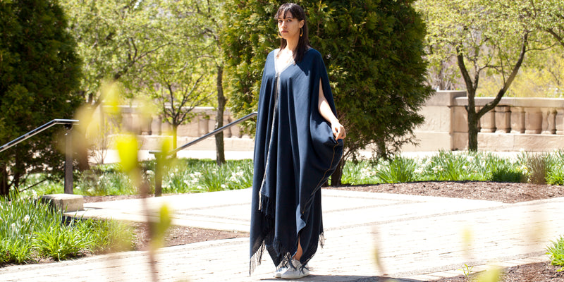 Blue pima cotton maxi dress