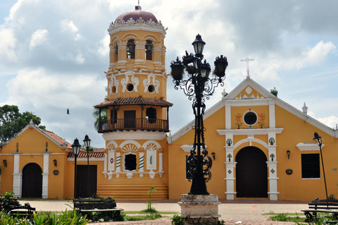Church in Mompox, town in Colombia where filigree jewelry originates from