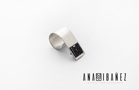 Silver and laser cut acrylic cocktail ring men and women