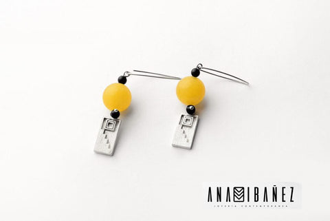 Silver and Agate with Onyx Earrings