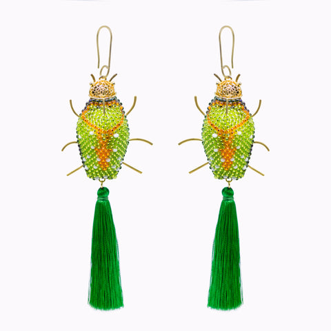 Statement beetle earrings made of 24K gold filigree, beads and tassels