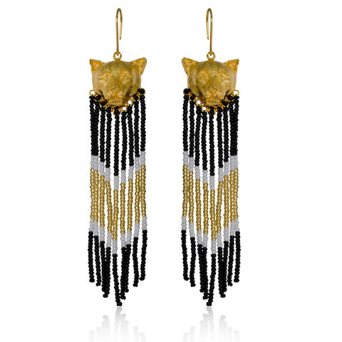 Statement puma cat earrings made of 24K gold plated bronze and glass beads